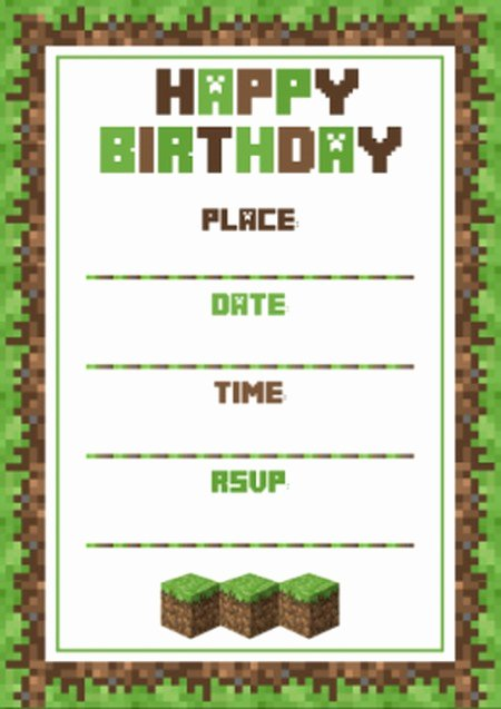 Minecraft Birthday Invite Template Best Of Birthday Invitation Template Minecraft