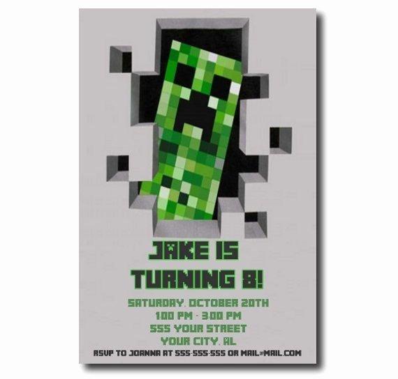 Minecraft Birthday Invite Template Best Of Minecraft Birthday Party Invitation Printable Invitations