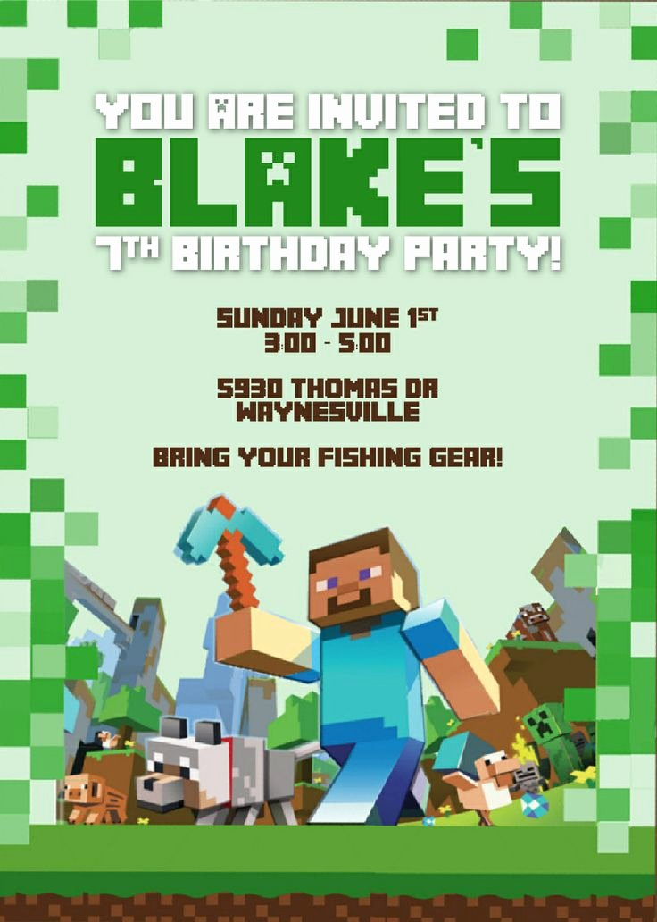 Minecraft Birthday Invite Template Elegant 50 Best Images About Minecraft Party On Pinterest