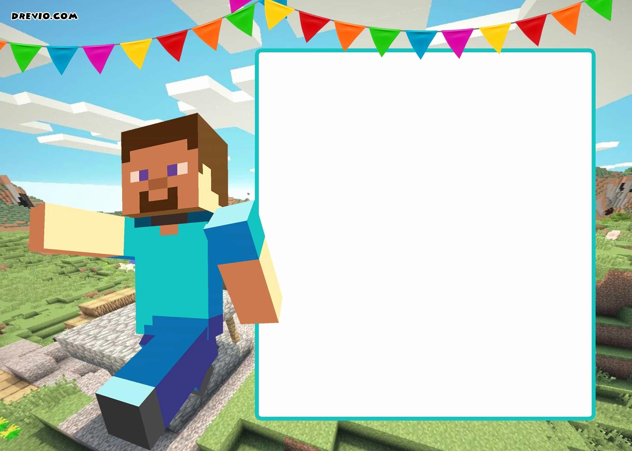 Minecraft Birthday Invite Template Elegant Free Printable Minecraft Birthday Invitation Template