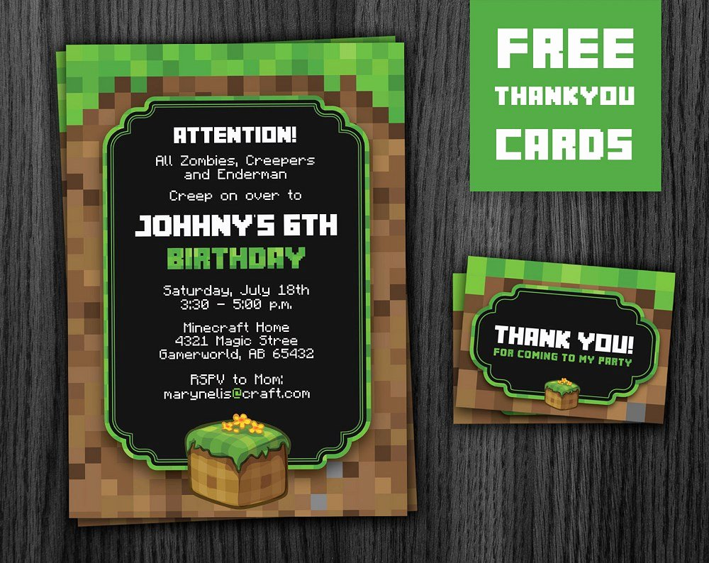 Minecraft Birthday Invite Template Elegant Minecraft Invitation Printable Minecraft Party Invite