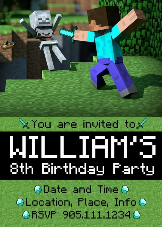 Minecraft Birthday Invite Template Fresh 166 Best Jaden Bday Ideas Minecraft Images On Pinterest