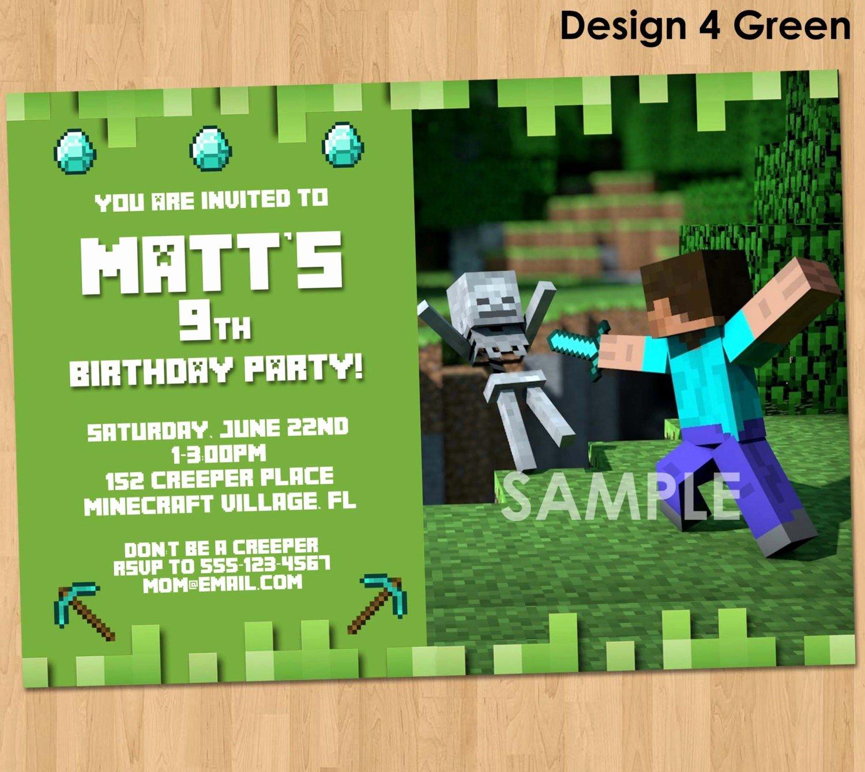Minecraft Birthday Invite Template Fresh Minecraft Birthday Invitations Minecraft Birthday