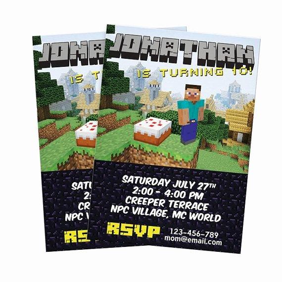 Minecraft Birthday Invite Template Luxury 7 Best Of Minecraft Diy Printable Invitation
