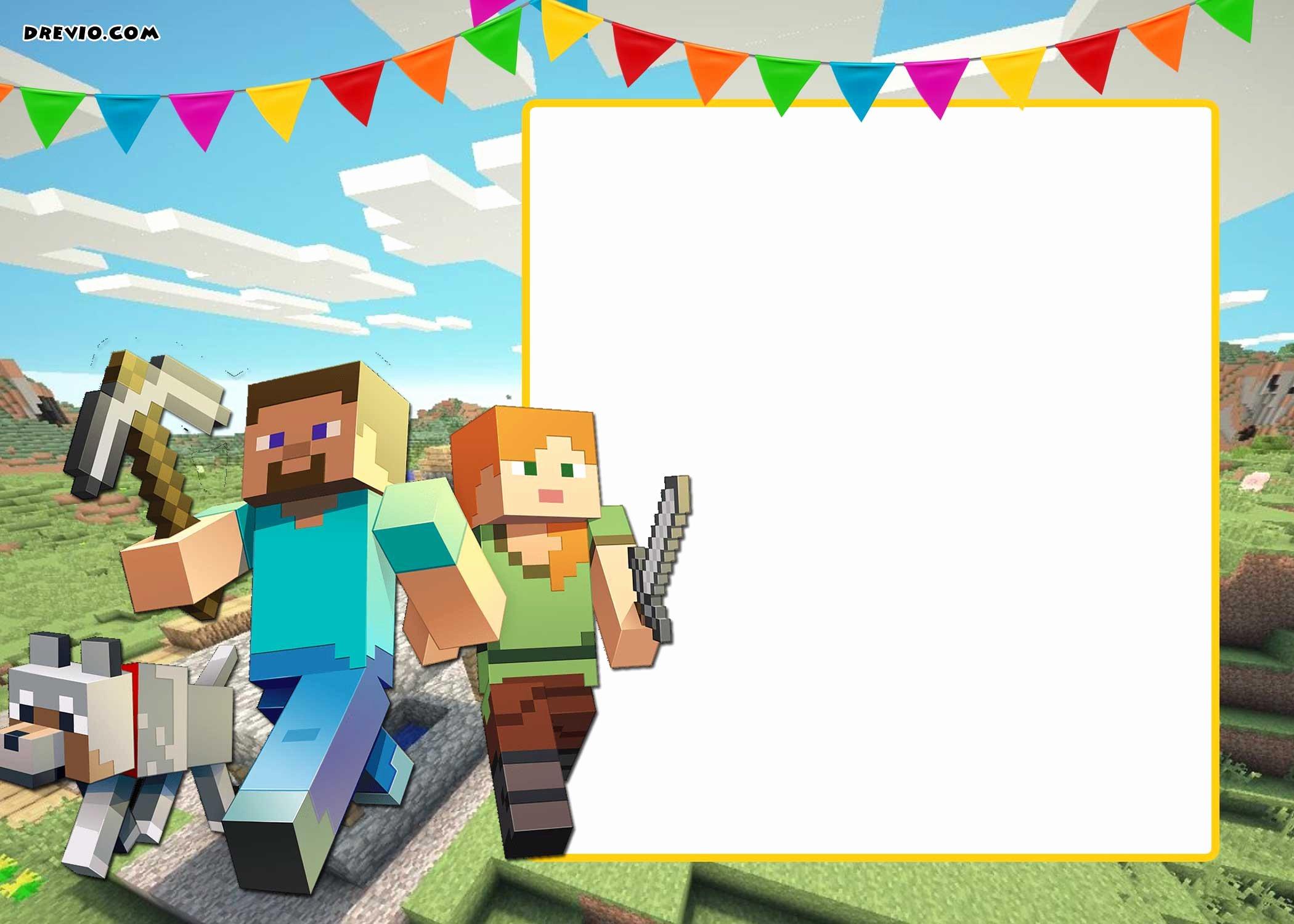 Minecraft Birthday Invite Template Luxury Free Printable Minecraft Birthday Invitation Template