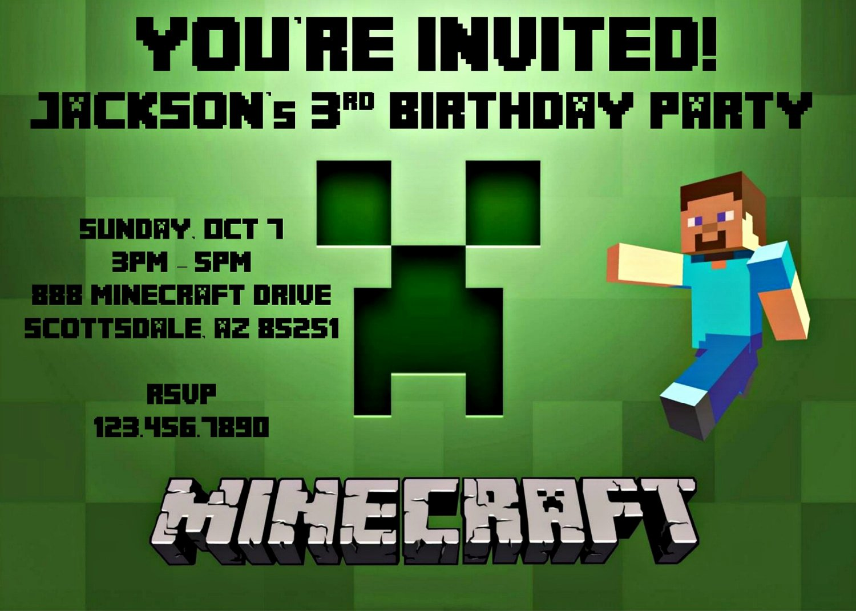 Minecraft Birthday Invite Template Luxury Minecraft Birthday Party Invitation Template