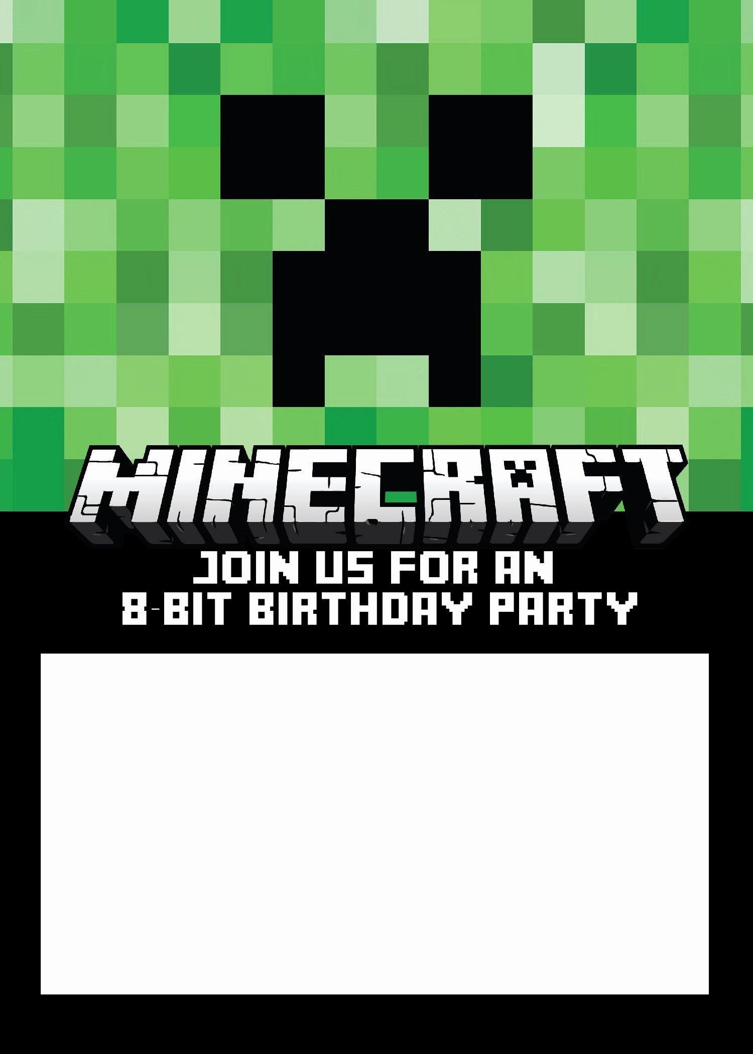 Minecraft Birthday Invite Template Unique Free Minecraft Birthday Invitations Personalize for