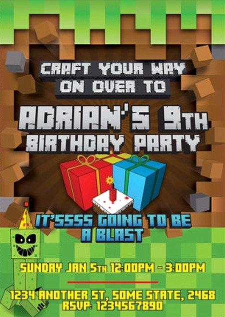 Minecraft Birthday Invite Template Unique Minecraft Bday Invites Minecraft Birthday Invitations