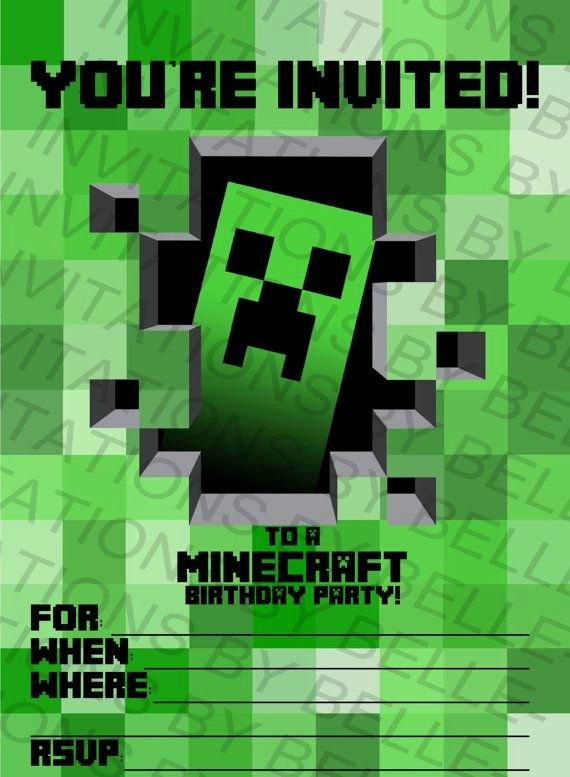 Minecraft Birthday Invite Template Unique Printable Minecraft Birthday Invitation by