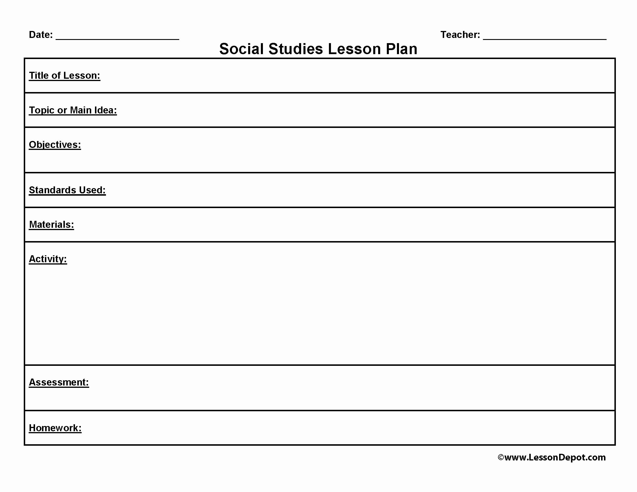Mini Lesson Plan Template Lovely Lesson Plan format