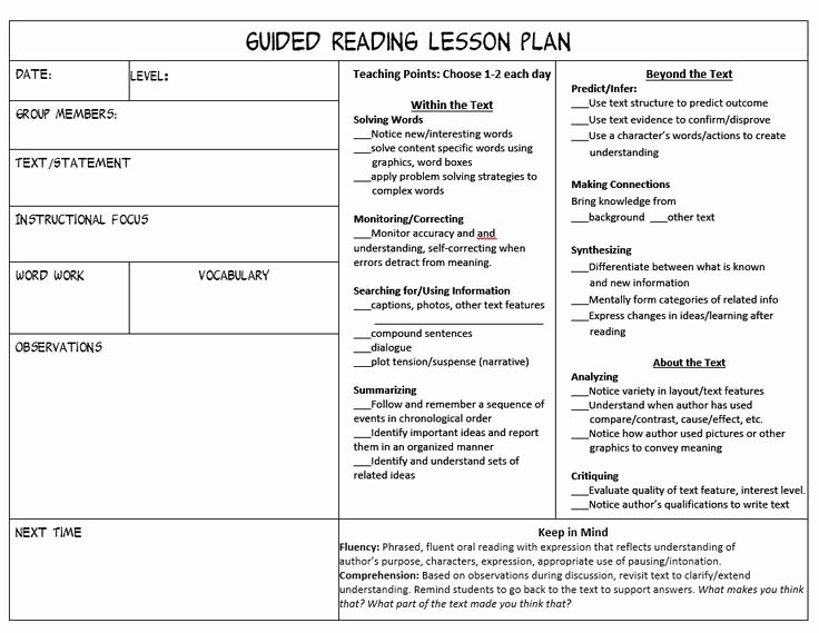 Mini Lesson Plan Template Luxury Best 25 Guided Reading Lessons Ideas On Pinterest
