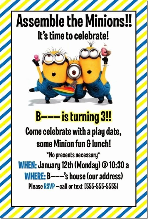 Minions Birthday Card Template Best Of Best 25 Minion Party Invitations Ideas On Pinterest