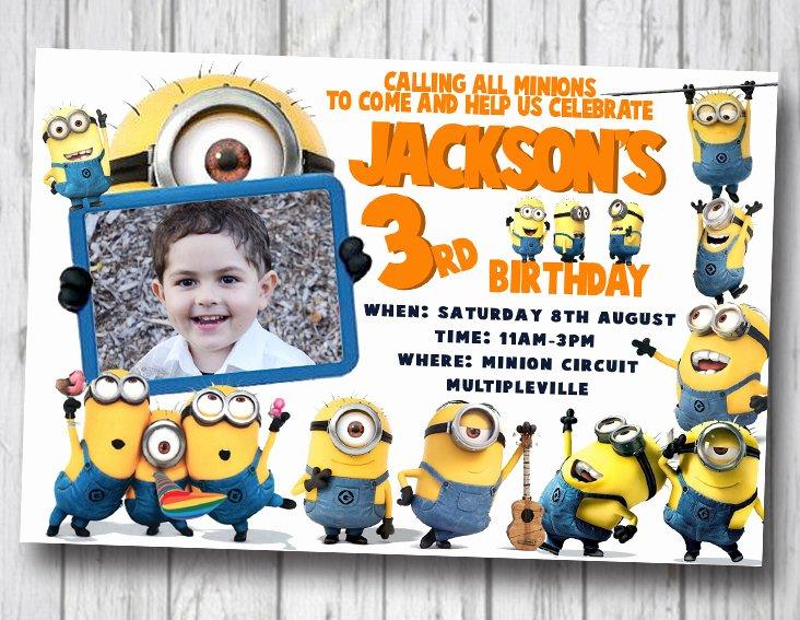 Minions Birthday Card Template Best Of Invitation Card for Christening Minions Minimalist
