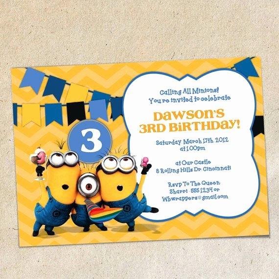 Minions Birthday Card Template Elegant Minions Chevron Bunting Invitation Template Instant