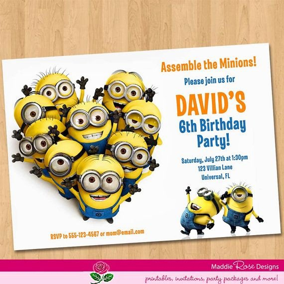 Minions Birthday Card Template Fresh Despicable Me Invitation Printable Minions Birthday