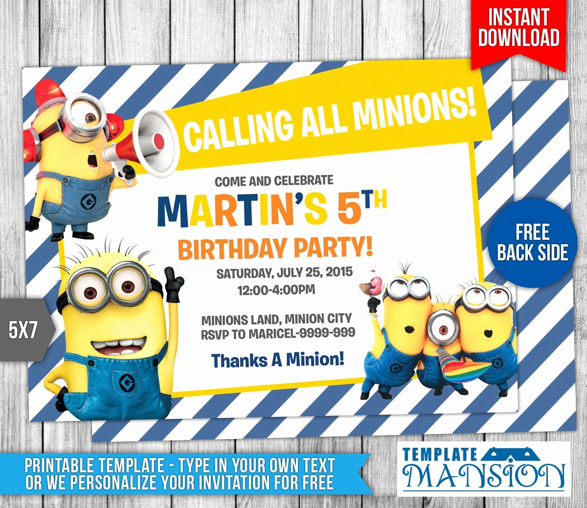 Minions Birthday Card Template Fresh Minion Birthday Invitations