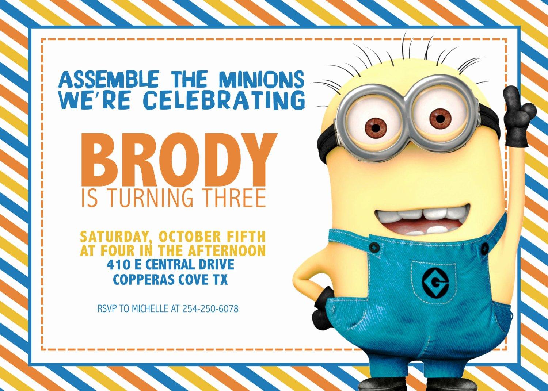Minions Birthday Card Template Inspirational Free Printable Minion Birthday Party Invitations Ideas