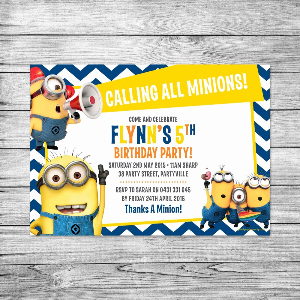 Minions Birthday Card Template Inspirational Minion Birthday Invitations