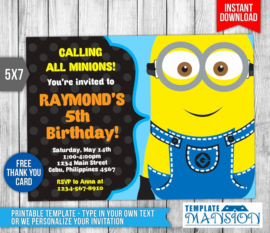 Minions Birthday Card Template Lovely Minion Invitation Minion Birthday Invitation by