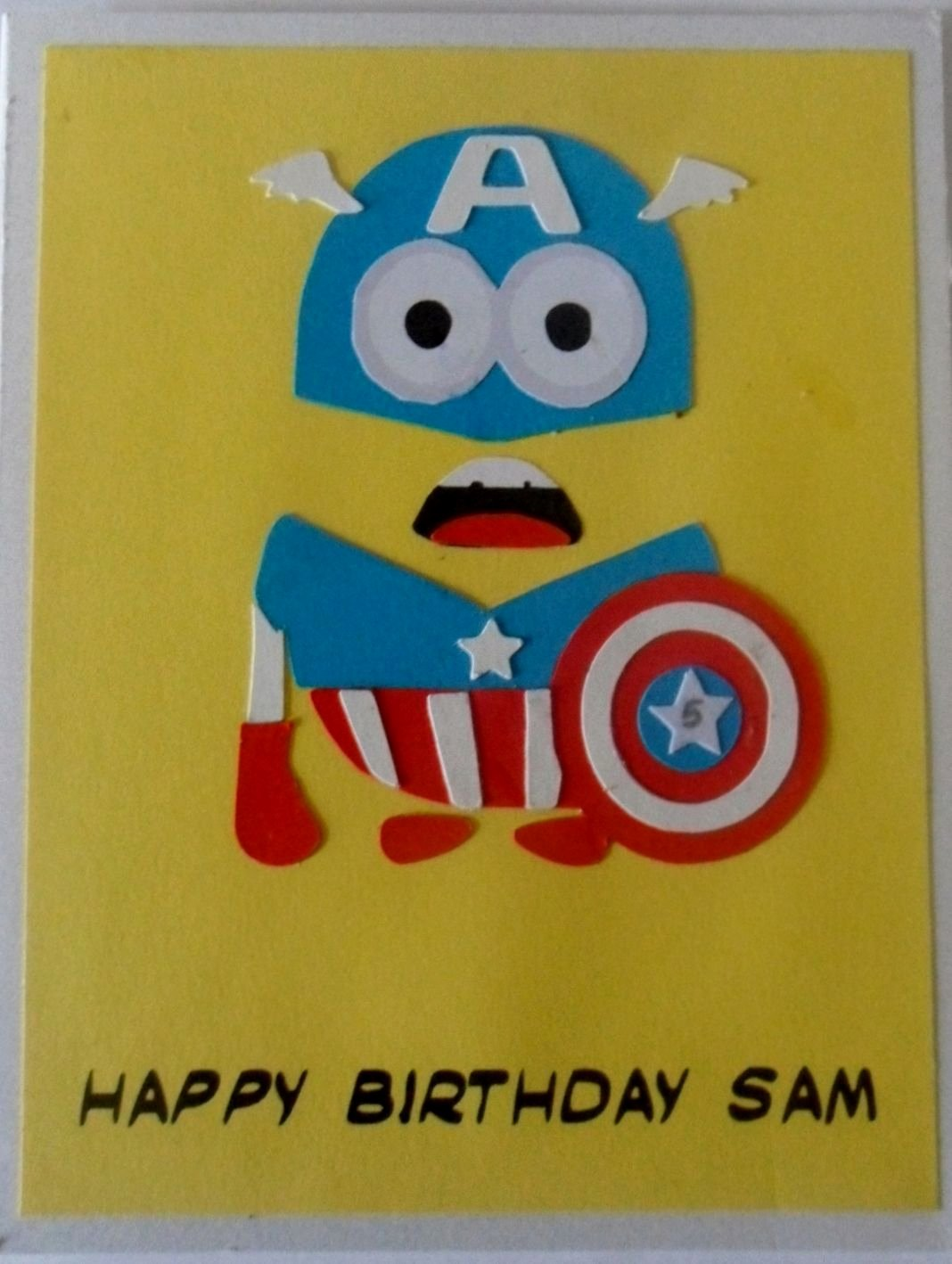 Minions Birthday Card Template Lovely Paper Pieced Captain America Minion Birthday Card