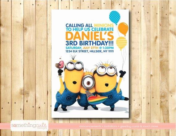 Minions Birthday Card Template New Minion Birthday Invite Par somethingcutedesigns Sur Etsy