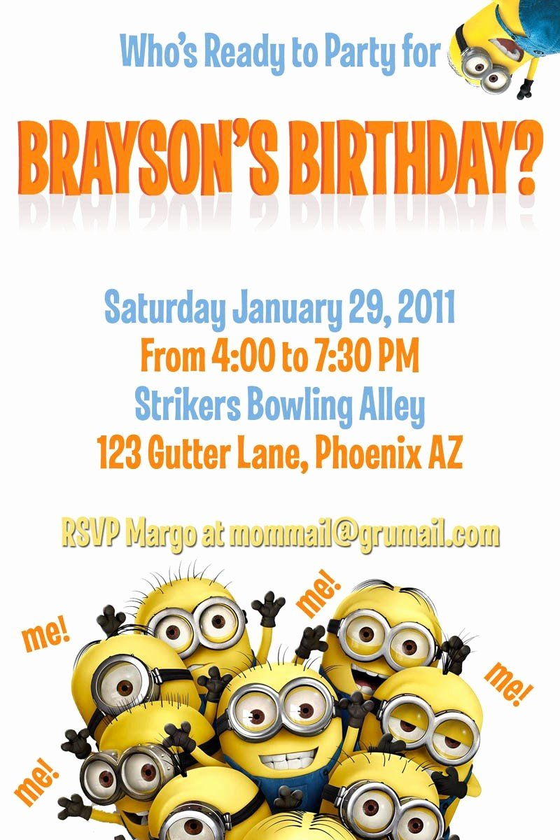 Minions Birthday Card Template New Minion Invitation Card Template