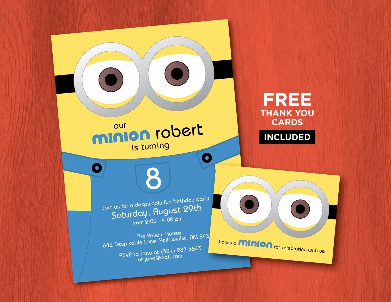 Minions Birthday Card Template New Printable Minion Birthday Invitations Personalized