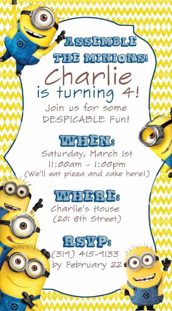 Minions Birthday Invitation Template Awesome 25 Best Ideas About Minion Invitation On Pinterest