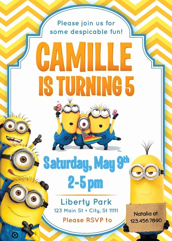 Minions Birthday Invitation Template Beautiful Despicable Me Minions Invitation Printable Kids by