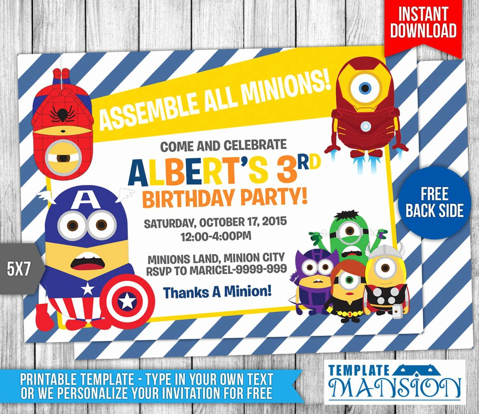 Minions Birthday Invitation Template Beautiful Minions Avengers Birthday Invitation Template 9 by