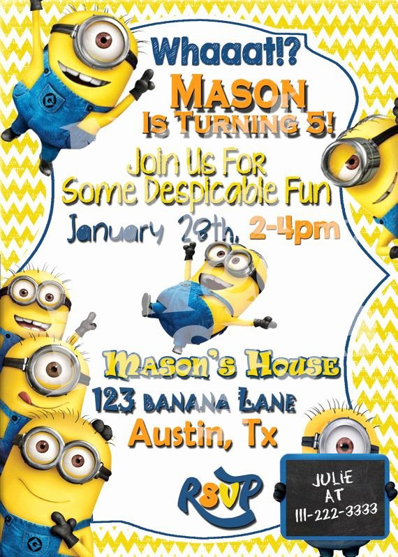 Minions Birthday Invitation Template Best Of Minion Birthday Invitation Despicable Me
