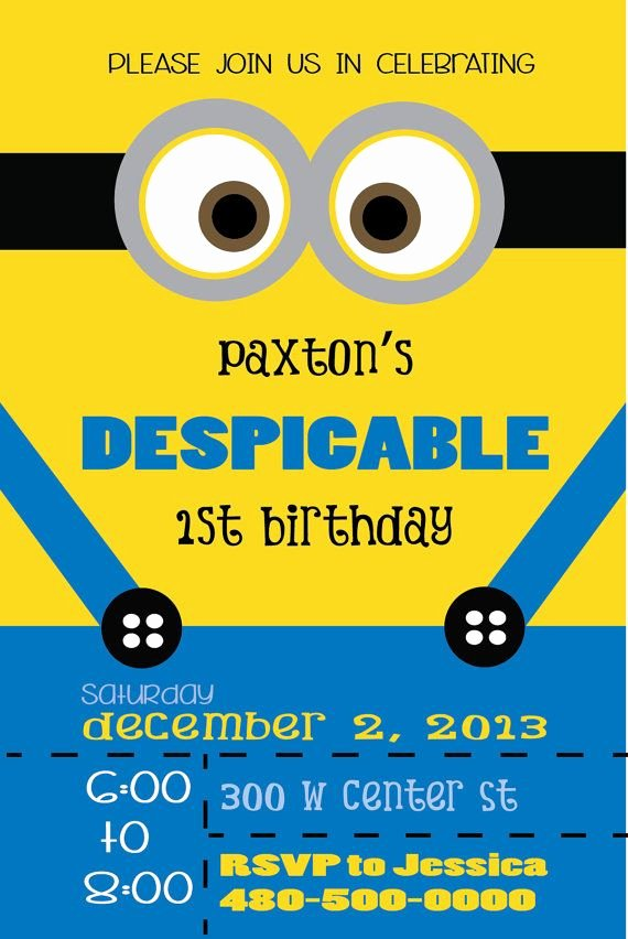 Minions Birthday Invitation Template Fresh Despicable Minion Birthday Invitation