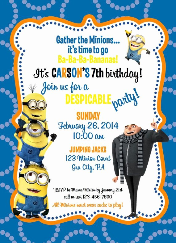 Minions Birthday Invitation Template Lovely Despicable Me Minion Birthday Invitation by Ckfireboots On