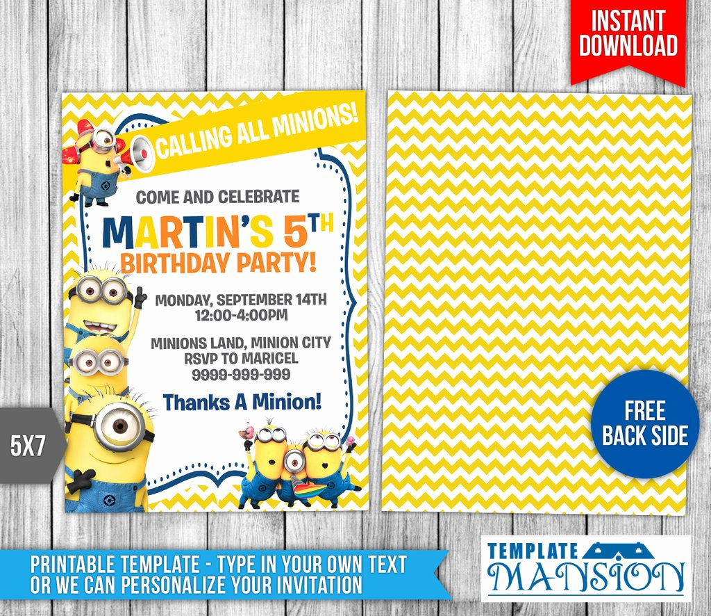 Minions Birthday Invitation Template Lovely Minions Invitation Minions Birthday Invitation by