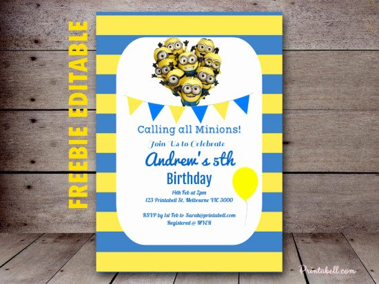 Minions Birthday Invitation Template Luxury Free Minion Party Printable Birthday Party Ideas & themes