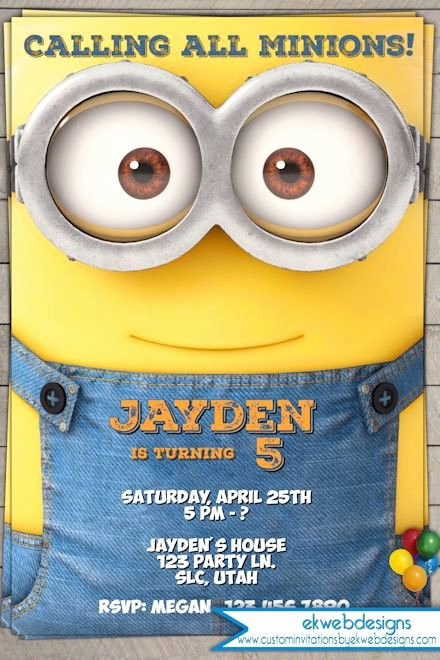 Minions Birthday Invitation Template Unique Minion Birthday Invitation 2015 Minion Movie Invitations
