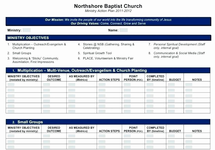 Ministry Strategic Plan Template Lovely Church Business Plan Template
