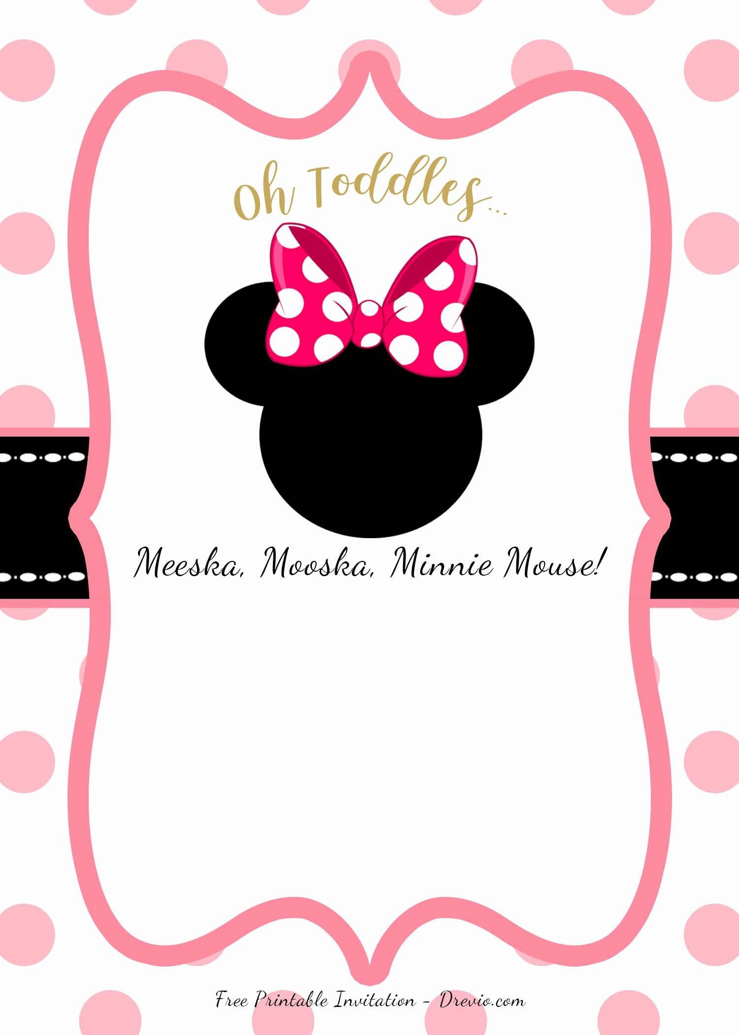 Minnie Mouse Invitation Template Beautiful Free Pink Minnie Mouse Birthday Party Diy Printable