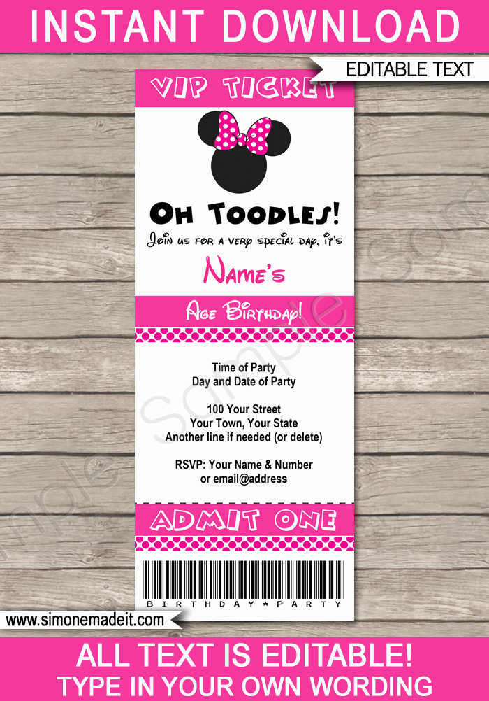 Minnie Mouse Invitation Template Best Of Minnie Mouse Ticket Invitation Template