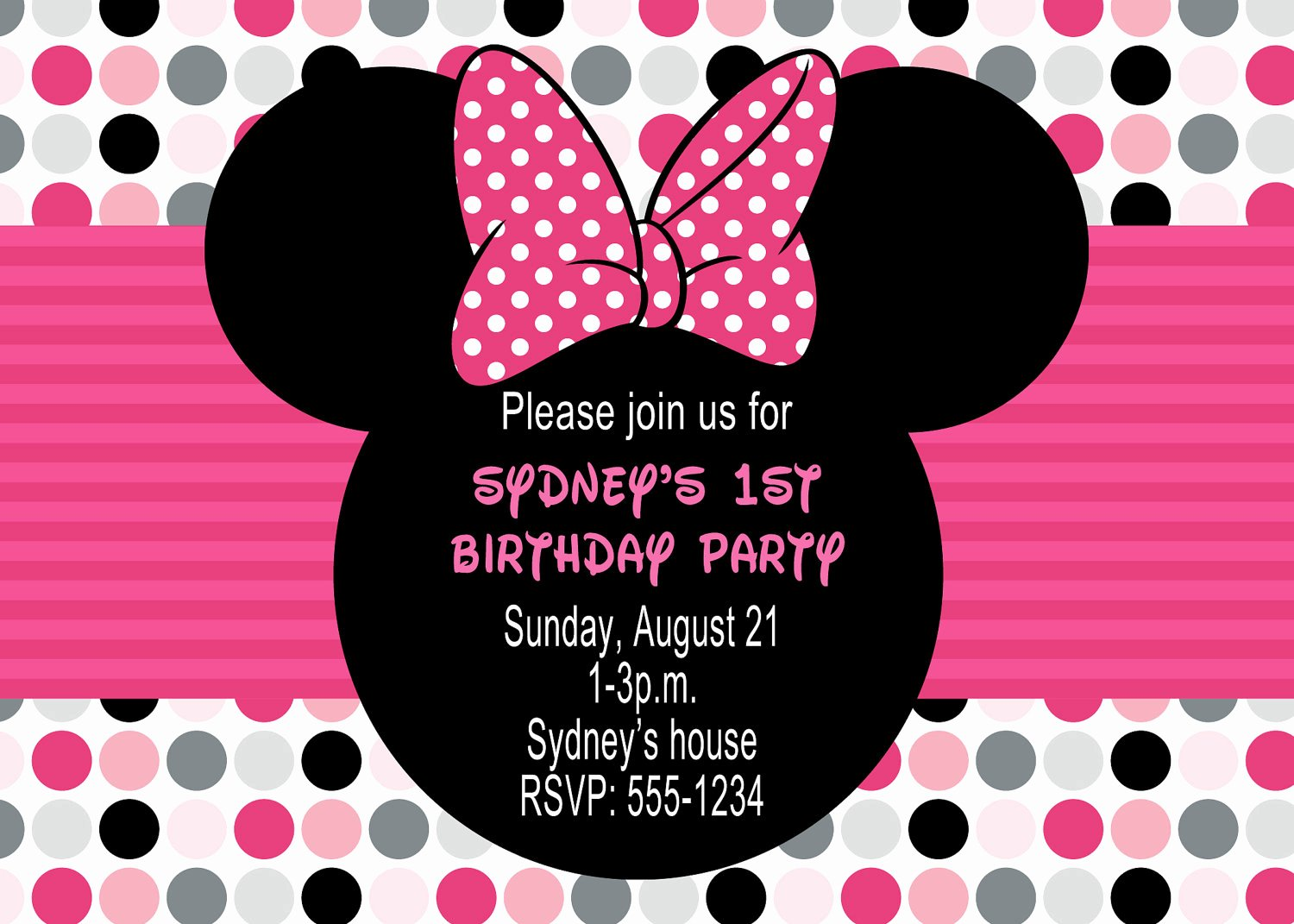 Minnie Mouse Invitation Template Elegant Minnie Mouse Birthday Party Invitations