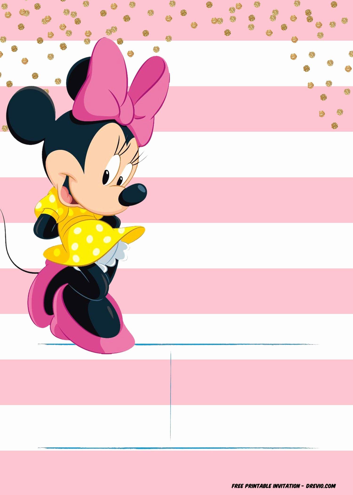 Minnie Mouse Invitation Template Fresh Minnie Mouse Invitation Template Editable and Free