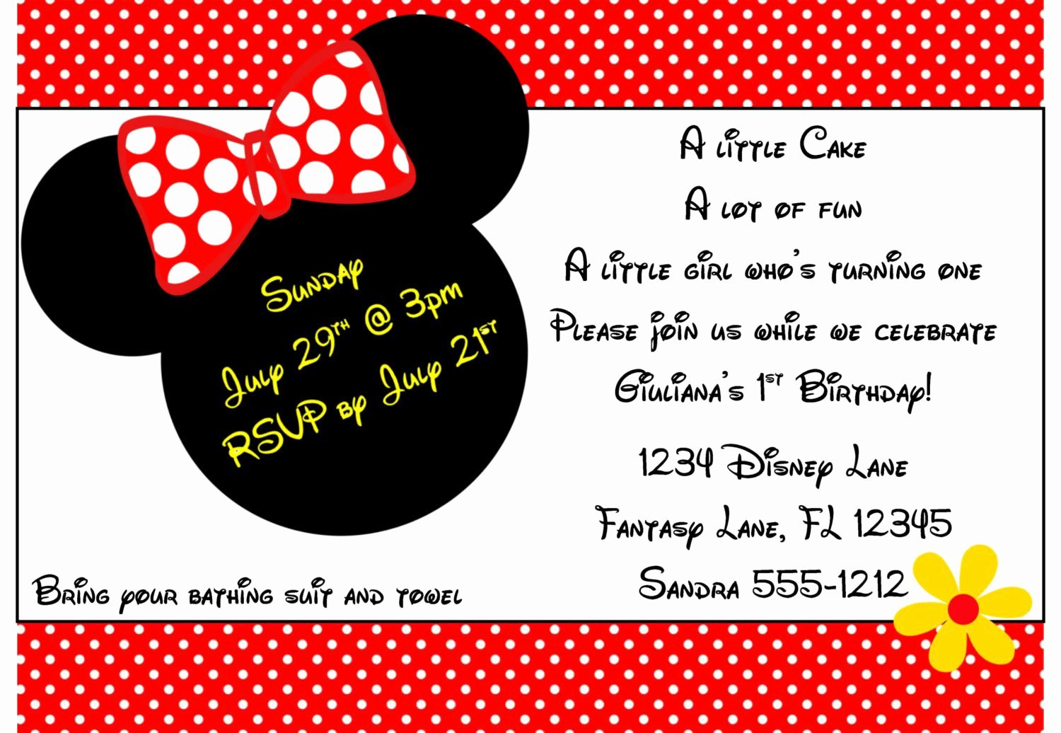 Minnie Mouse Invitation Template Inspirational Minnie Mouse Invitation Template 4x6