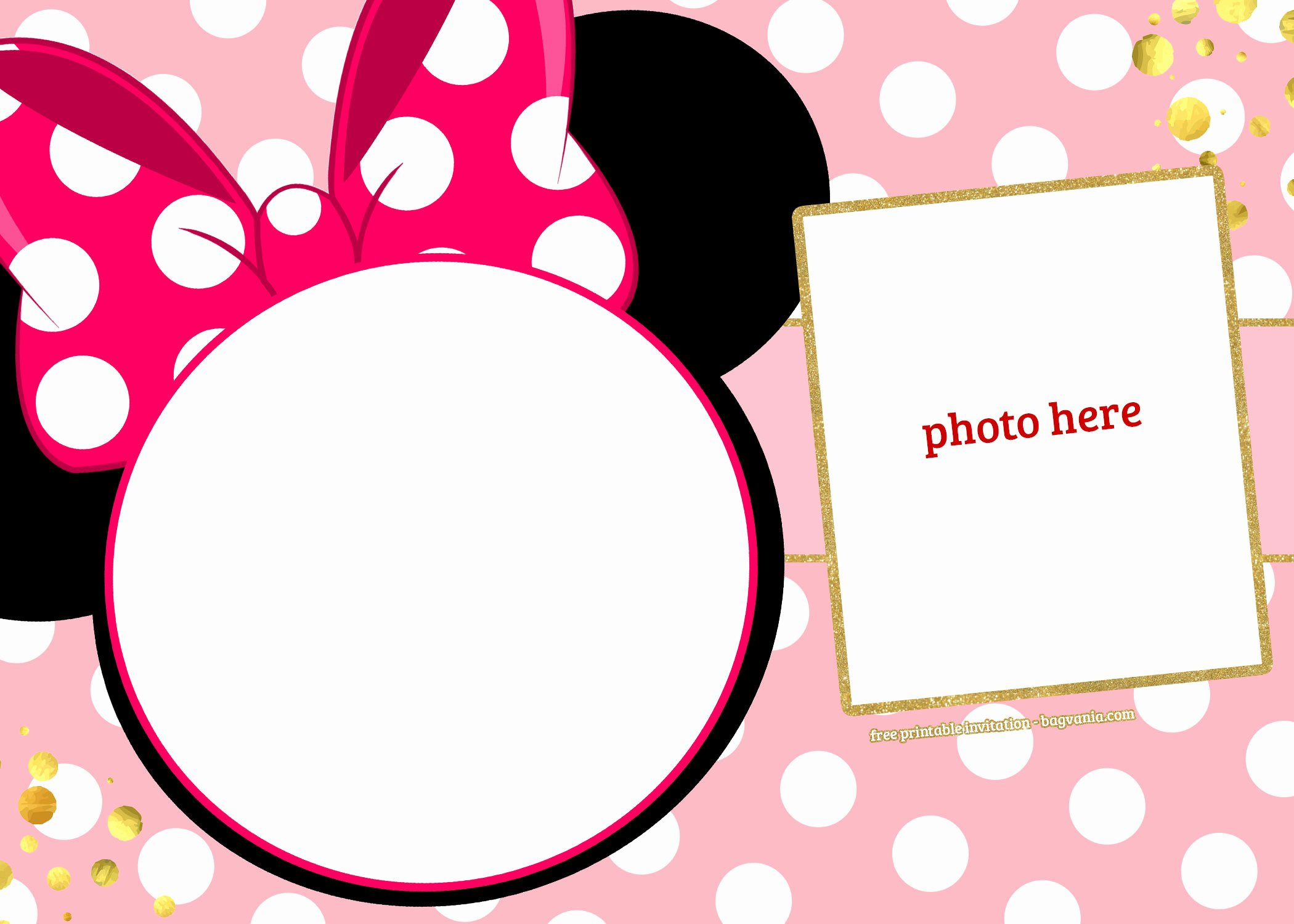 Minnie Mouse Invitation Template Unique Free Printable Minnie Mouse Pinky Birthday Invitation