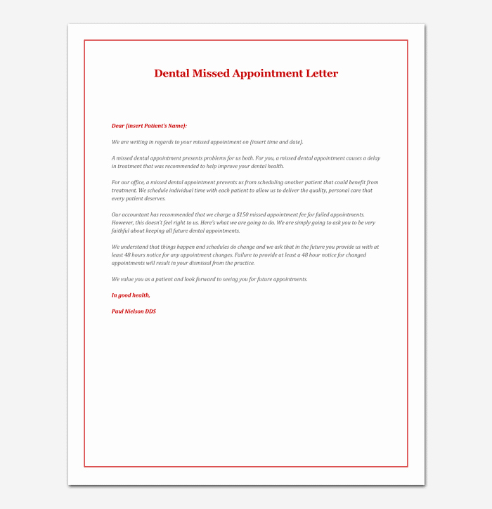 Missed Appointment Email Template Awesome Missed Appointment Letter 10 Sample Letters