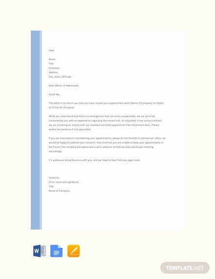 Missed Appointment Email Template Beautiful Free Cancellation Of Appointment Letter Template Download