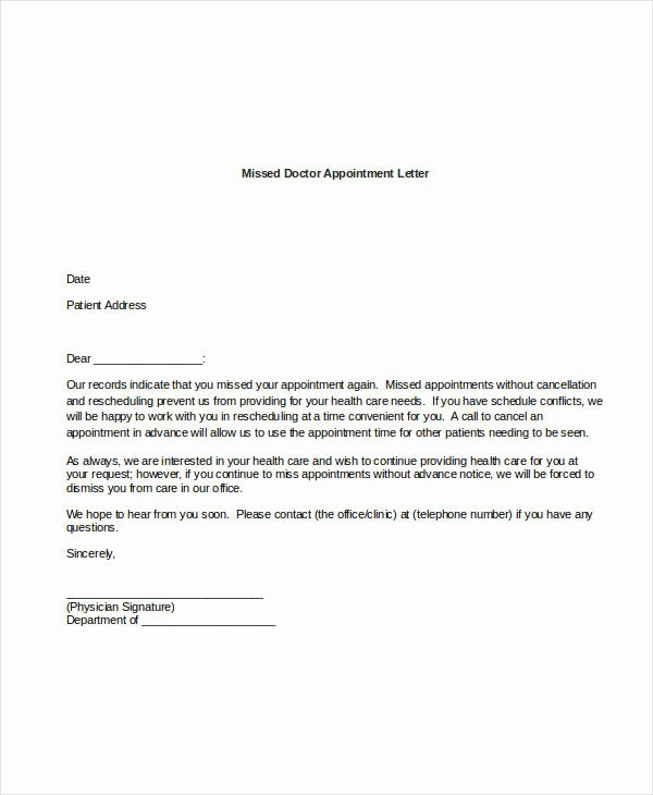 Missed Appointment Email Template Elegant 44 Appointment Letter Template Examples