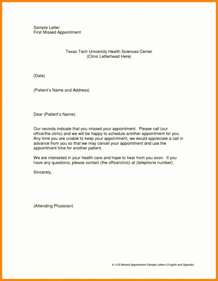 Missed Appointment Email Template Lovely Letter Appointment Letter Sample