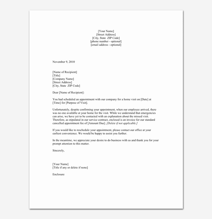 Missed Appointment Email Template Unique Missed Appointment Letter 10 Sample Letters
