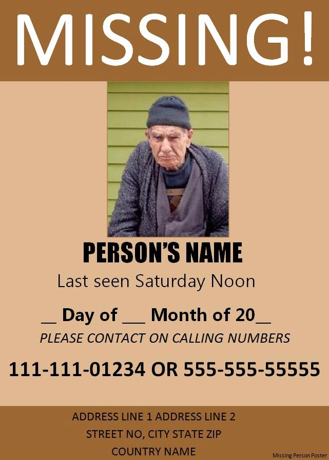 Missing Person Flyer Template Best Of Poster Templates