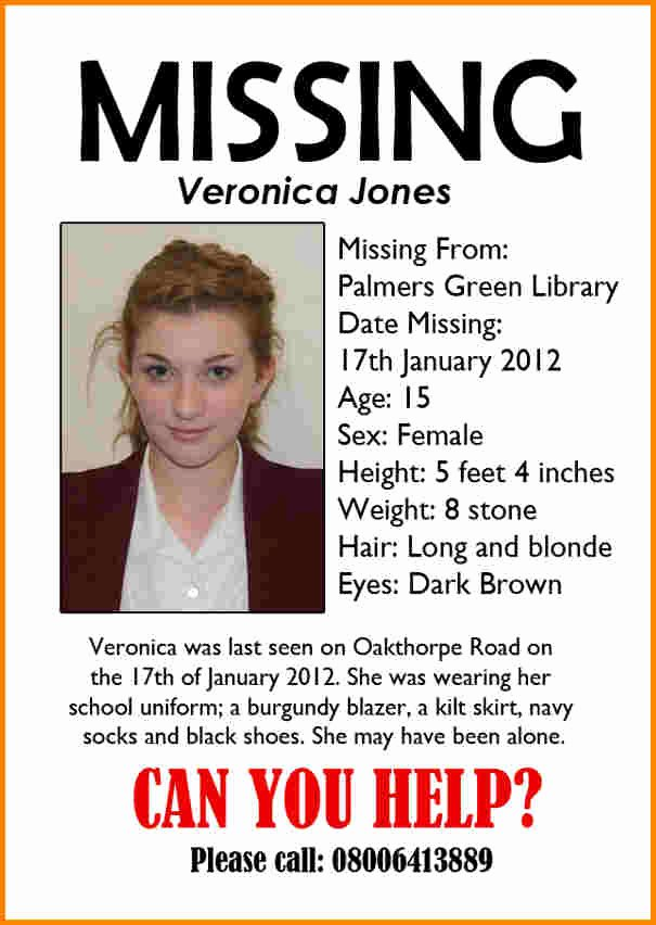 Missing Person Flyer Template Inspirational Missing Persons Poster Templa and Doc Missing Reward